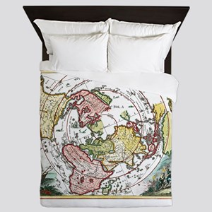 ANTIQUE AZIMUTHAL EQUIDISTANT EARTH MAP Queen Duve