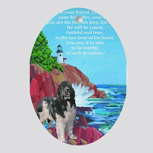 landseer and lighthouse two Ornament (Oval)