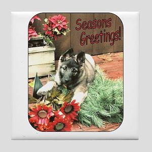 Adorable Puppy Holiday Gift Tile Coaster