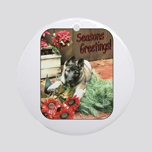 Adorable Puppy Holiday Gift Ornament (Round)