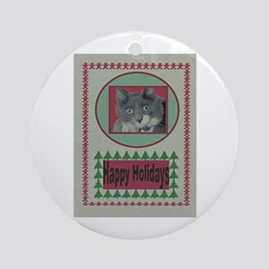 Adorable Kitten Holiday Gift Ornament (Round)