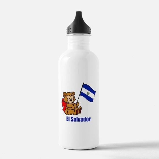 El Salvador Teddy Bear Sports Water Bottle