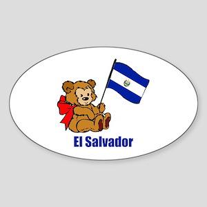 El Salvador Teddy Bear Sticker (Oval 10 pk)