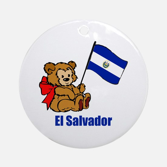 El Salvador Teddy Bear Ornament (Round)