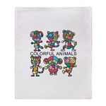 colorful animals Throw Blanket