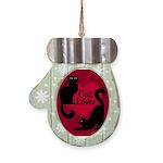 Fat Cat & Cat Lover Mitten Ornament