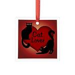 Fat Cat & Cat Lover Square Glass Ornament