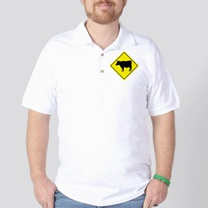 Cattle Crossing Sign Golf Shirt
