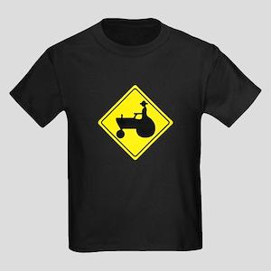 Tractor Crossing Sign Kids Dark T-Shirt