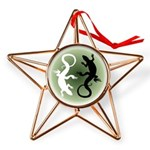 Lizard Art Copper Star Ornament