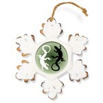 Lizard Art Rustic Snowflake Ornament