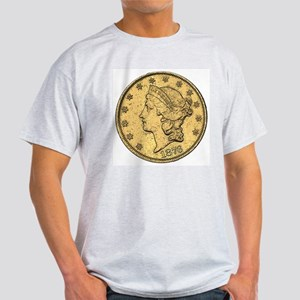 Liberty Head Double Eagle Double-Sided Ash Grey T-