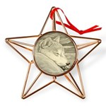 Shiba Inu Dog Art Copper Star Ornament