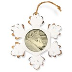 Shiba Inu Dog Art Rustic Snowflake Ornament