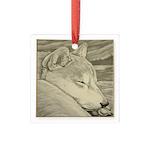 Shiba Inu Dog Art Square Glass Ornament