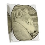 Shiba Inu Dog Art Burlap Throw Pillow