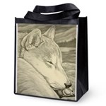 Shiba Inu Dog Art Reusable Grocery Tote Bag