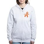 Stength Ribbon Leukemia Women's Zip Hoodie