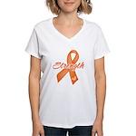 Stength Ribbon Leukemia Women's V-Neck T-Shirt