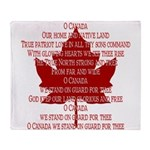 Canada Anthem Souvenir Arctic Fleece Throw Blanket