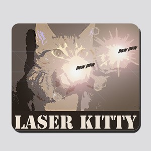 Laser Cats! Funny laser kitty pew pew Mousepad