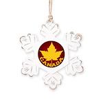 Canada Varsity Team Rustic Snowflake Ornament