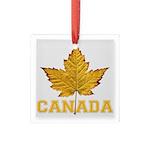 Canada Varsity Team Square Glass Ornament