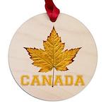 Canada Varsity Team Maple Round Ornament