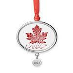 Cool Canada Maple Leaf Souvenirs Oval Year Ornamen