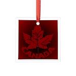 Cool Canada Maple Leaf Souvenirs Square Glass Orna
