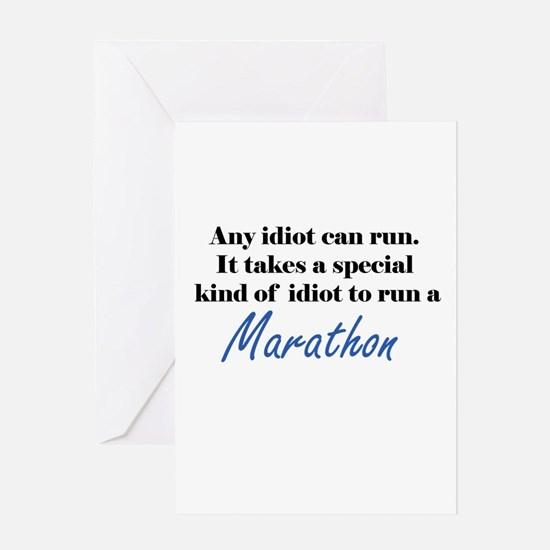 Idiot to run marathon Greeting Card
