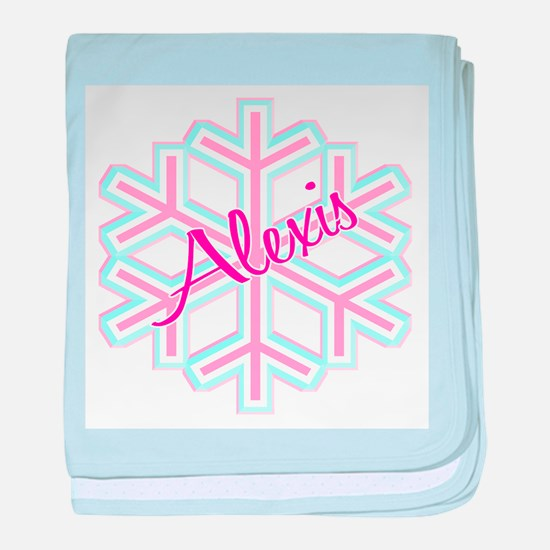 Snowflake Alexis Personalized baby blanket