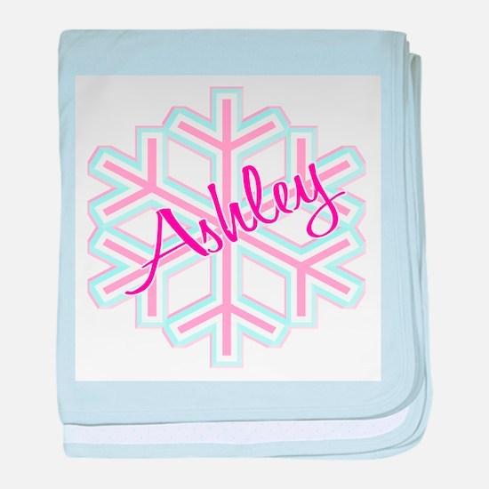 Ashley Snowflake Personalized baby blanket