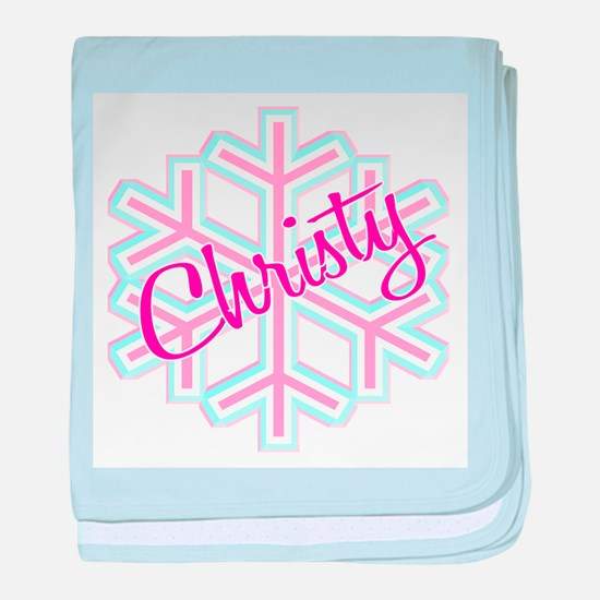 Christy Snowflake Personalize baby blanket