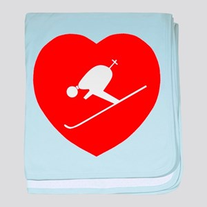 Love Skiing Heart baby blanket