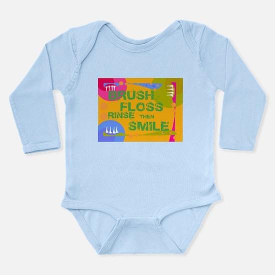 Brush Floss Rinse Smile Long Sleeve Infant Bodysui