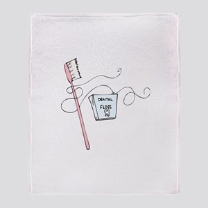 Brush And Floss Dentist Throw Blanket