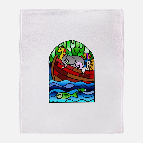 Noah's Ark Stained Glass Throw Blanket