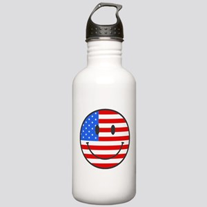 Smiley Face Fourth Of July Stainless Water Bottle