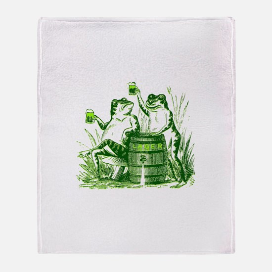 Drunk Frogs St Patricks Day Throw Blanket