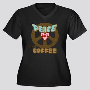 Peace Love and Coffee Women's Plus Size V-Neck Dar