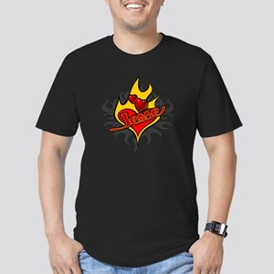 Jesse Heart Flame Tattoo Men's Fitted T-Shirt (dar