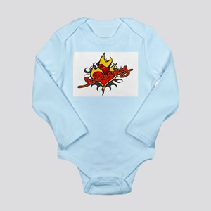Johnny Heart Flame Tattoo Long Sleeve Infant Bodys