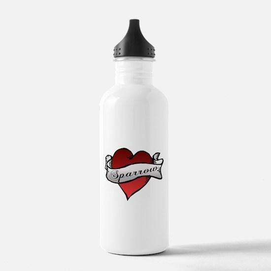 Sparrow Tattoo Heart Water Bottle