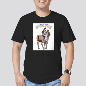 Brunette Princess and Pony Men's Fitted T-Shirt (d