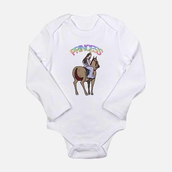 Brunette Princess and Pony Long Sleeve Infant Body