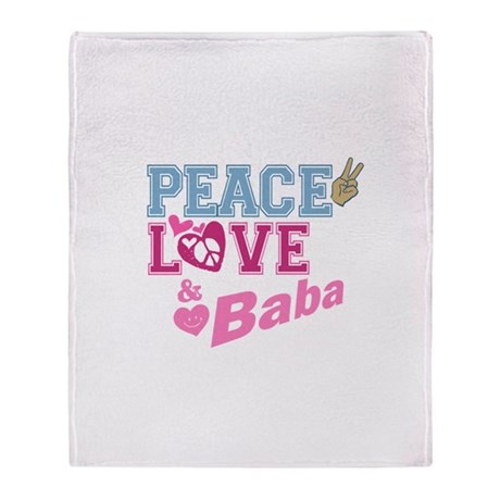 Peace Love and Baba Throw Blanket
