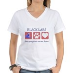 Black Lab Pawprints Women's V-Neck T-Shirt