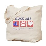 Black Lab Pawprints Tote Bag