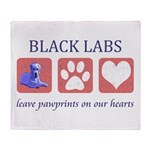 Black Lab Pawprints Throw Blanket